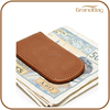 China wholesale magnetic tan leather money clip custom design money clip