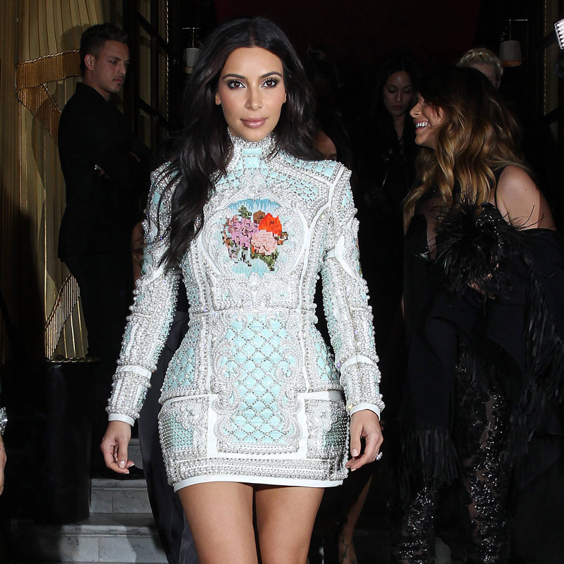 New Kim K.Euro Style Noble Lady Cross stitch Embroidery Luxury Beading Handmade Pearls DenimHalf Sleeve Party Dresses