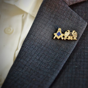 Masonic Square and Compass Double Eagle head lapel pin