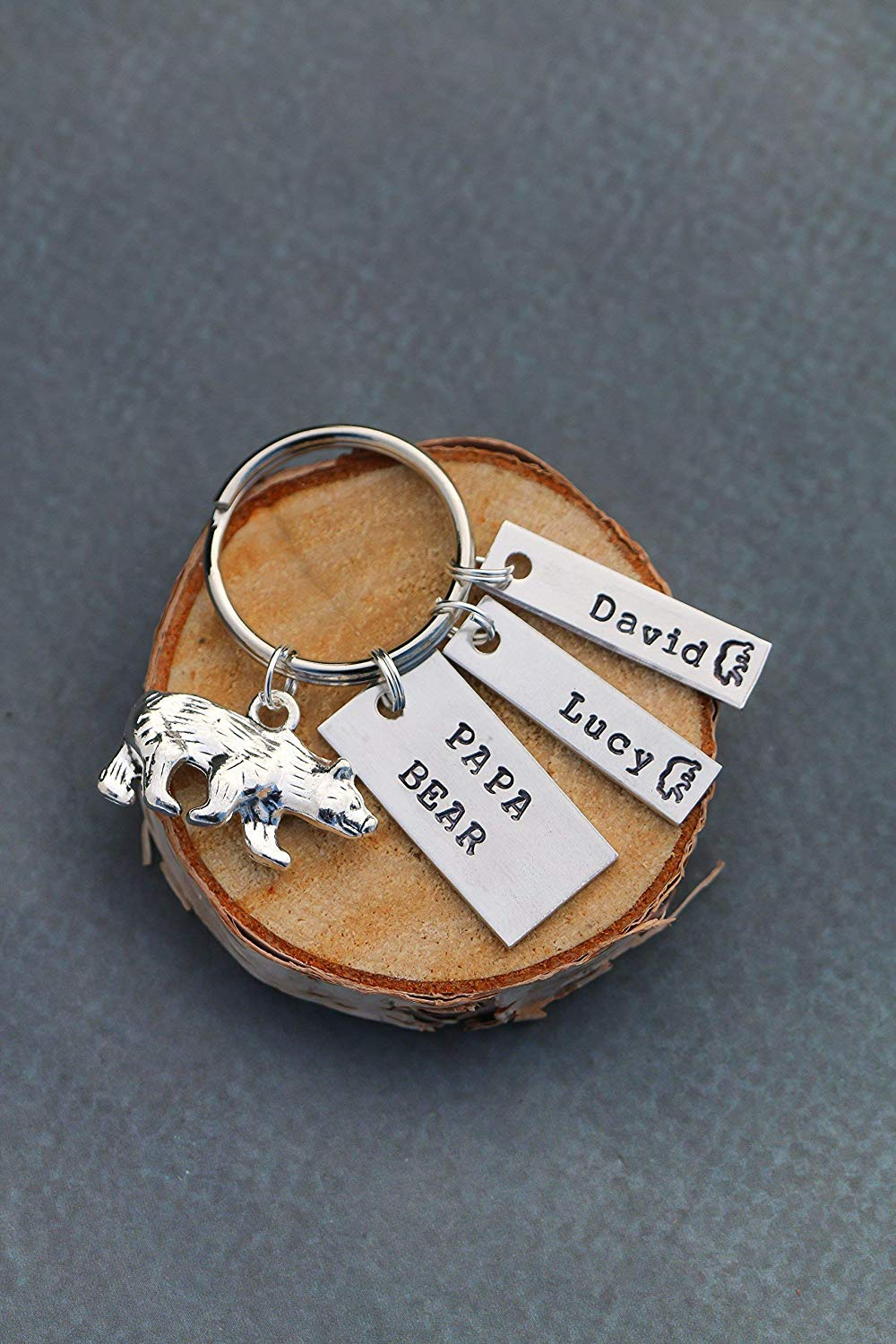 Bear Cub Keychain - DII ABC - Dad Gift - Father Present - Funny Birthday Idea - Stainless Steel Keyring - 1 x .5 inch Rectangle Disc - Ships 1 Business Day