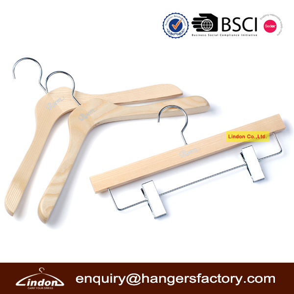 Assessed Supplier LINDON set 3 piece natural wooden pant coat hangers