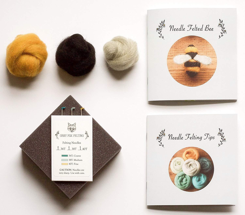 "Grey Fox Felting ""Needle Felting Kit - Bee "" - Beginner DIY Craft Kit with 100% Wool Roving, Foam Block, Felting Needles, Instructions"