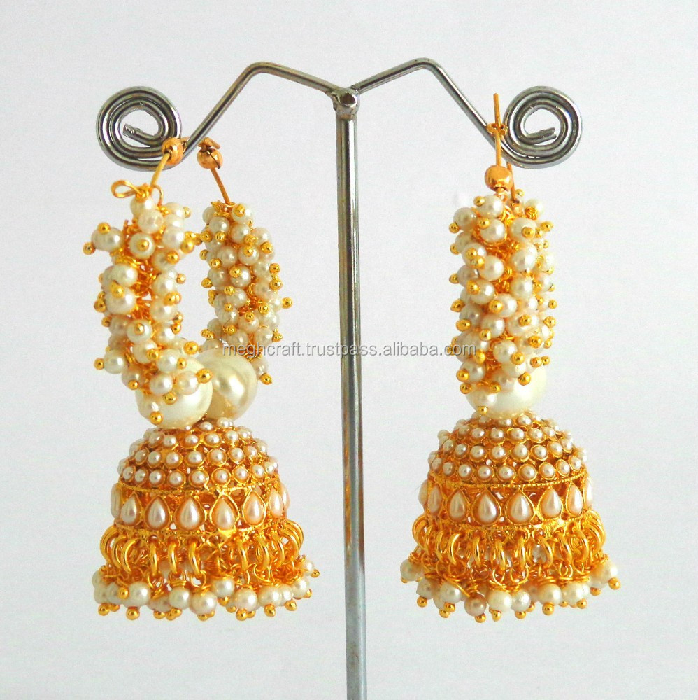 Online Indian Traditional Pearl Jhumka Earrings Pearl Jhumka Pearl  Earrings Wholesale Imitation Earrings Online Jhumka Earrings