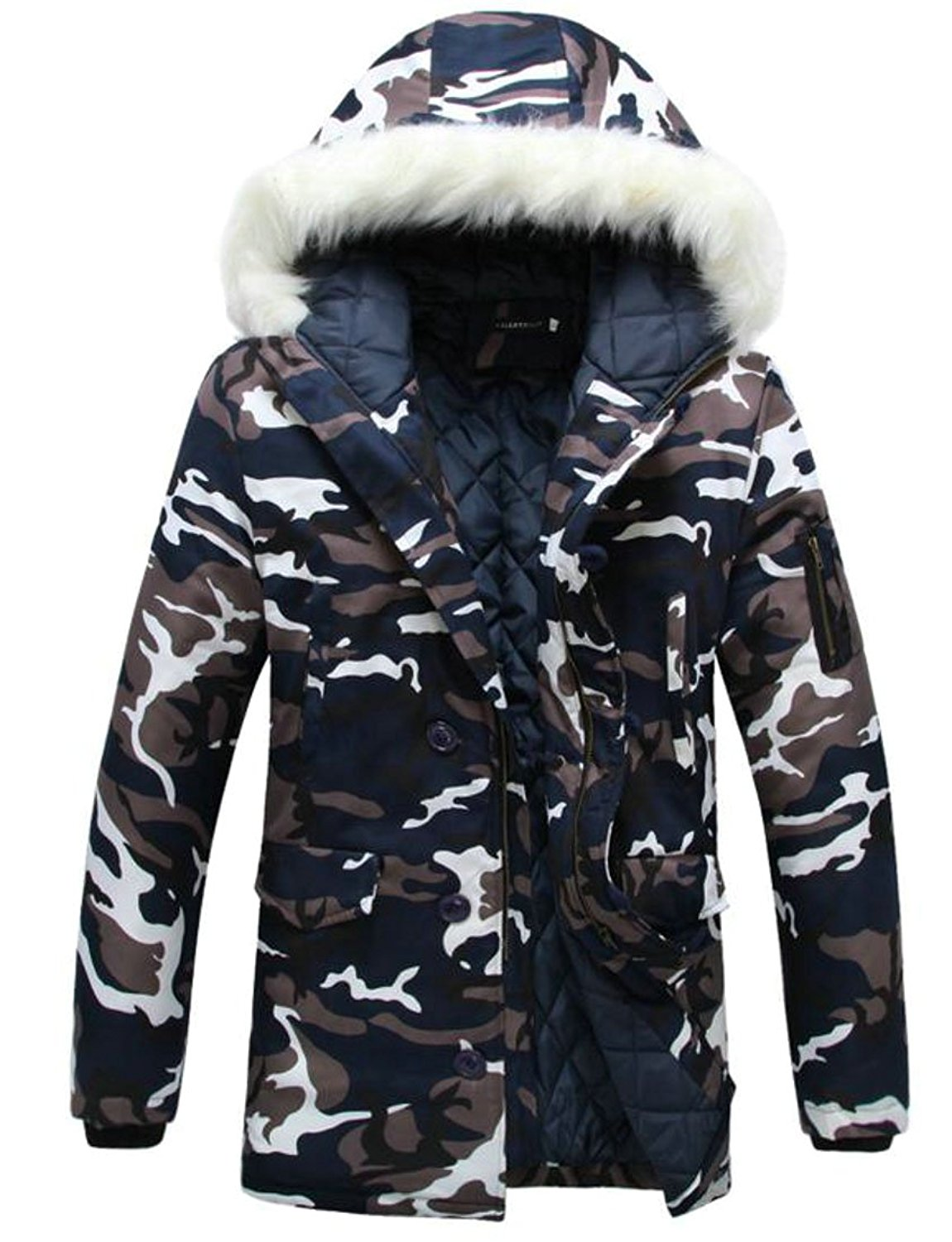 ONTBYB Men Fashion Faux Fur Hooded Puffer Jacket Coat Outdoor Quilted Down Parka