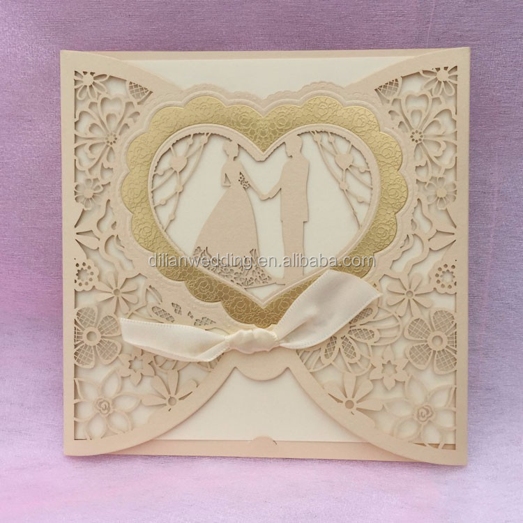 Laser Cut Double Heart Design Chinese Wedding Invitation Card - Buy ...
