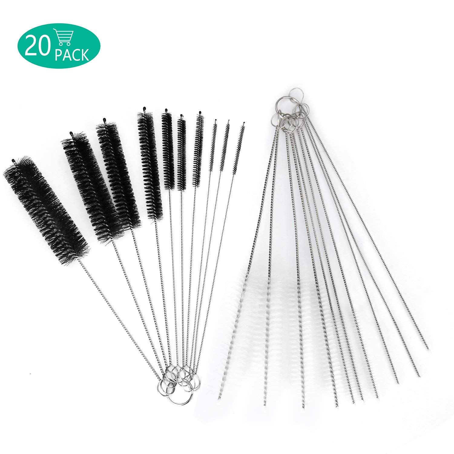 DECORA 10 Pieces Nylon Cleaning Bottle Brush Pipe Cleaning Brushes Tube Brushes Tube Bottle Straw Washing Cleaner Bristle Kit Tool Black