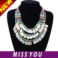 Europe exaggerate multi layered natural shell necklace