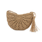 OEM Antique Bohemian Half Moon Shape wheat straws Basket Ethnic Tassel Hand Made Knitting Summer beach Cross handbag for Women
