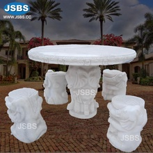 Outdoor White Marble Antique Carved Elephant Dinning Table