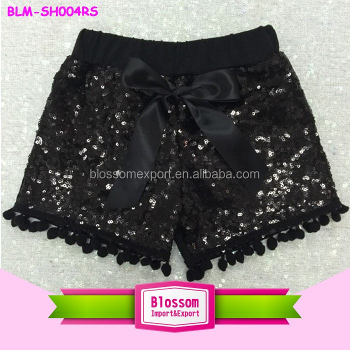Summer Boutique Children's Shorts Elastic Waist Kids Baby Pom Pom Shorts Black & Gold Polka Dot Shorts For Girls