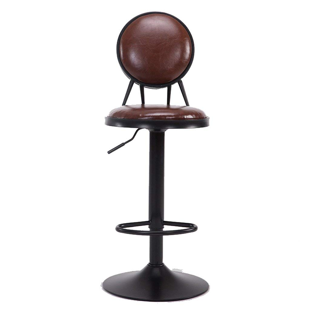 Wei Hong Home Office stools Breakfast stools Bar stools Vintage stools Beauty salon stools 306° swivel stools Adjustable height (Color : Brown, Size : 304295cm)
