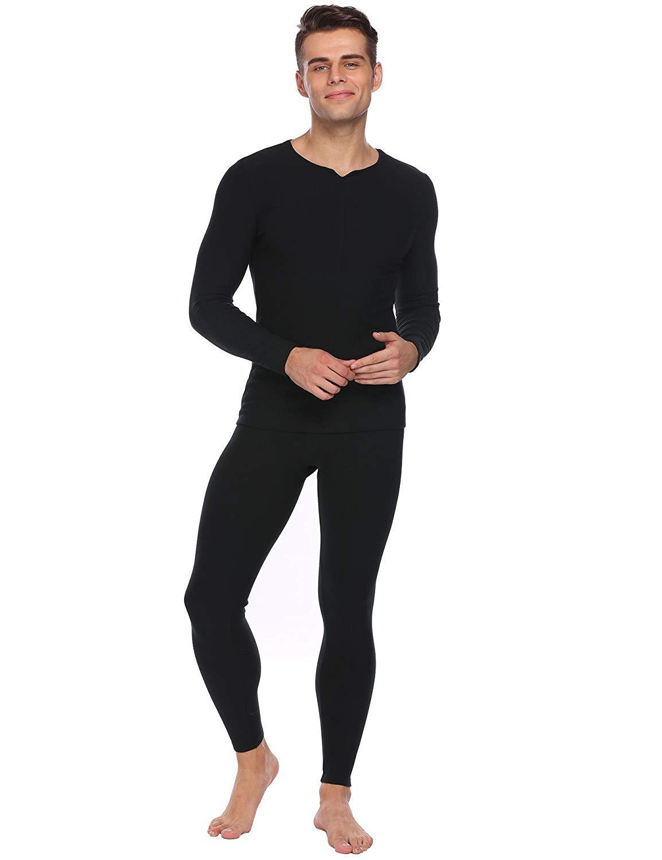 dcc64b8c63c8 Get Quotations · Skylin Mens Long Sleeve Solid Slim Sleepwear Thermal  Underwear Fleece Lined Pajama Set S-XXL