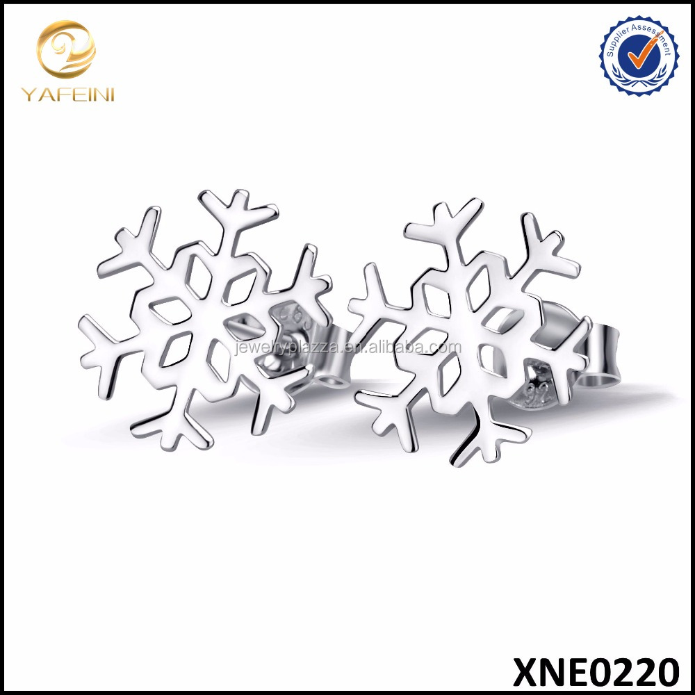Solid 925 Sterling Silver Snowflake Stud Earrings New Year Gifts Fashion Jewelry For Women