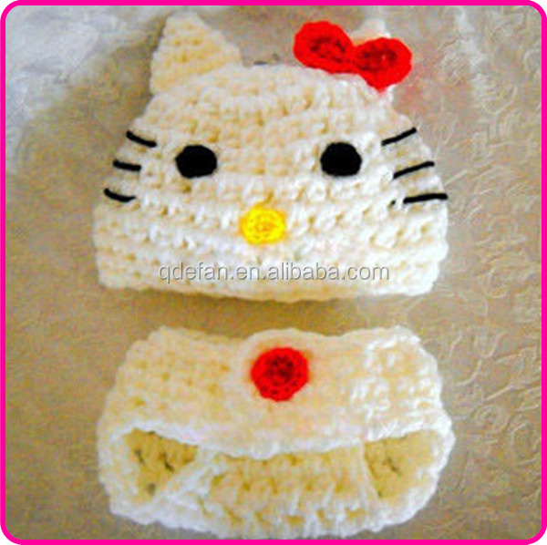2015 Baby Crochet Hat And Diaper Cover Photo Props Hello Kitty Baby