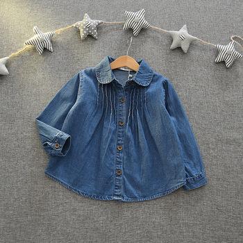 8e8ac3fab S31788W moda Primavera bebé niñas arrugas niños Denim jeans manga larga  blusa suelta