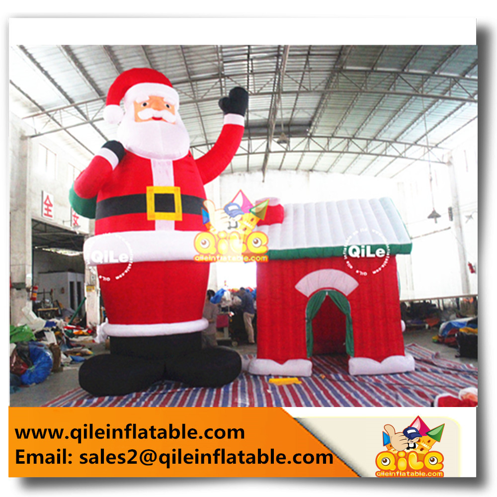 HOT SALE big Inflatable Santa Claus with house for Christmas ornaments Decoration Supplies with high quality