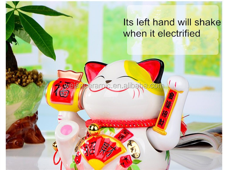 Good luck handpainted large ceramic waving hand lucky cat for sale