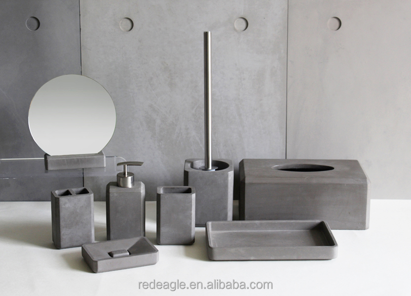 Eco-fridendly Waterproof Grey Concrete Bathroom Accessory Sets