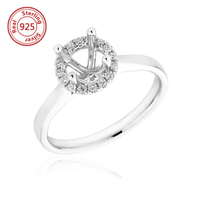 925 sterling silver Classic Design Semi Mount Ring For Round Diamond Diamond Engagement Semi ring mountings