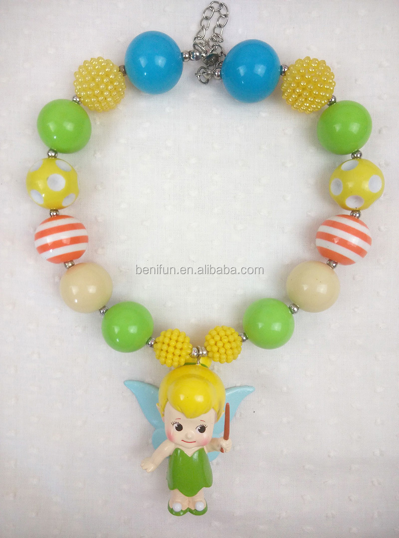 Latest Tinkerbell Princess Chunky Bubble Necklace Diy Wholesale ...