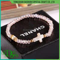Fashion simple handmade bracelet custom logo women bead cross bracelet 2017