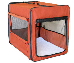 Foldable fabric dog carrier soft pet crate