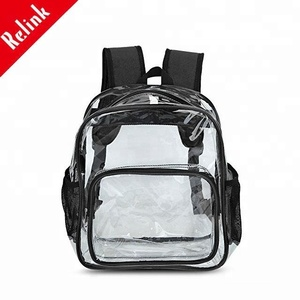 Wholesale children school bag,cute clear PVC kids school bag with stationery set,transparent mini child school bag