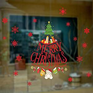BIBITIME Vivid Elk Wall Sticker Red Lettering Merry Christmas Gift Tree Decor Hanging Frozen Snowflake Deer Window Decals for Shop Showcase