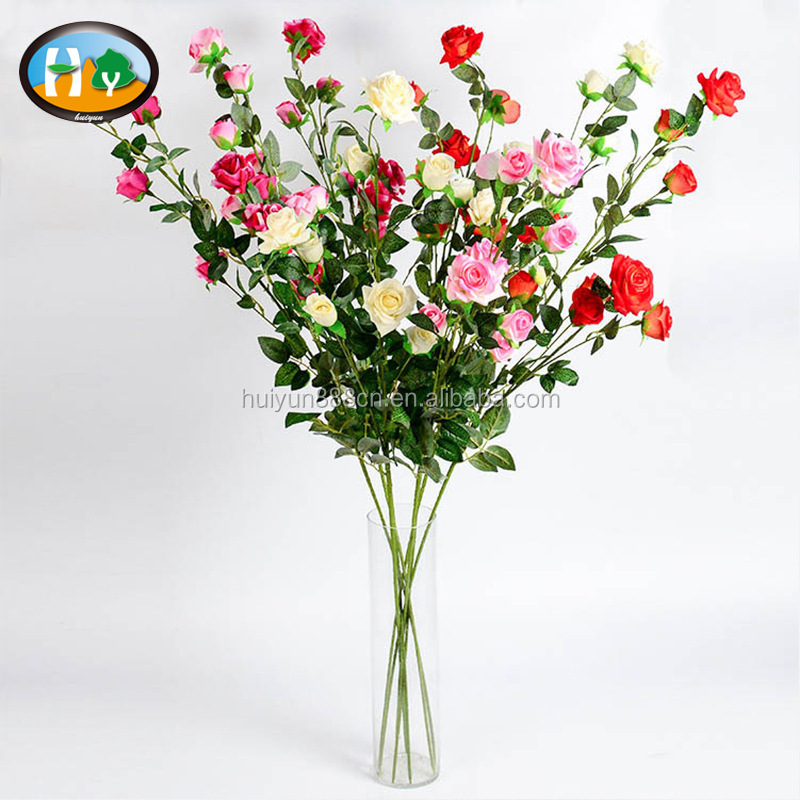 High quality small edge curl velvet rose spray long stem decorative artificial flower