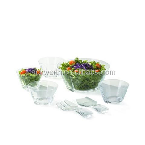 7 PCS Plastic Fruit Salad Bowl Set with Serving Bowl