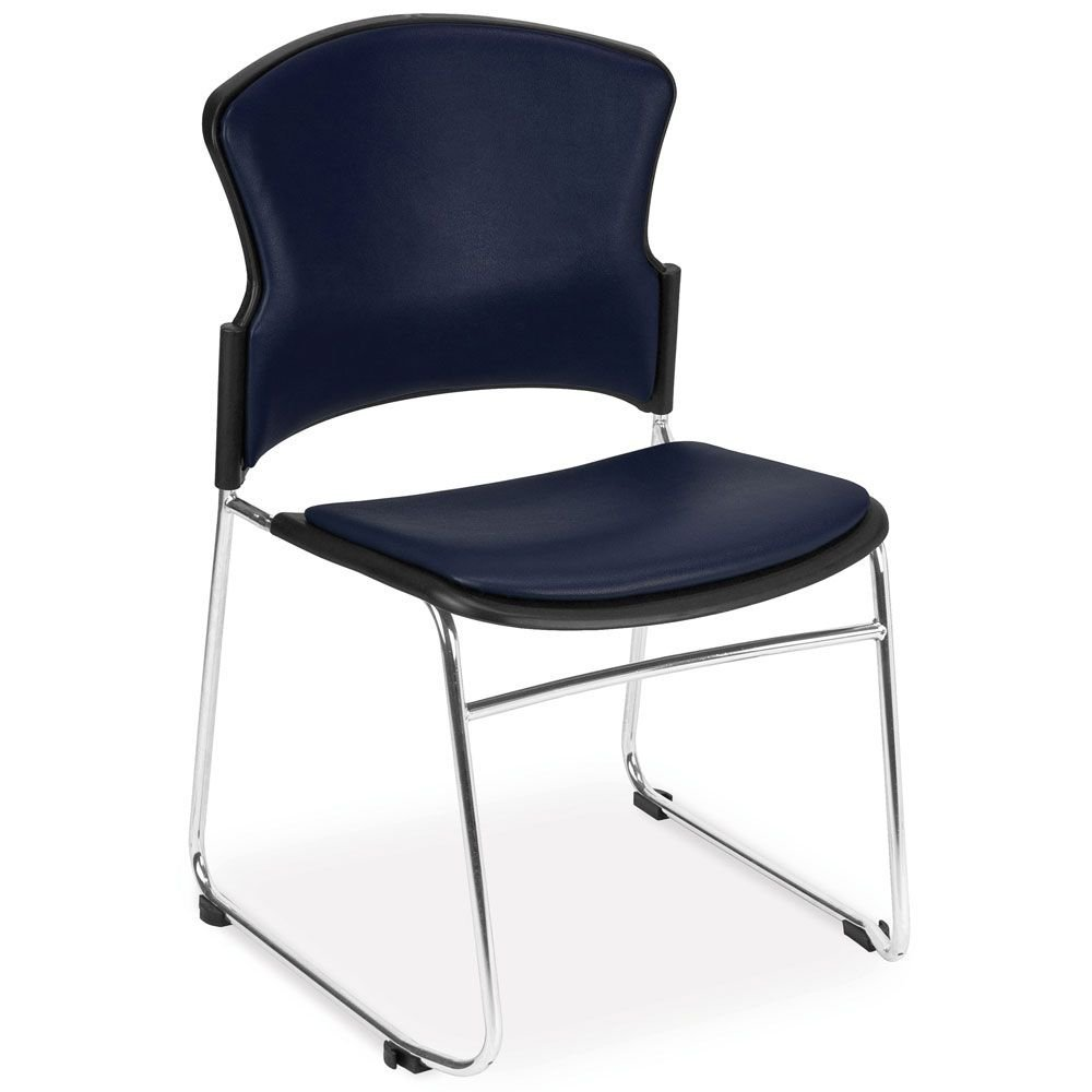 """Set of 4 MultiUse Antimicrobial Vinyl Armless Stack Chair Dimensions: 21.5""""W x 23""""D x 33.25""""H Seat Dimensions: 18.5""""Wx17.5""""Dx18.75""""H Navy Vinyl/Chrome Frame"""