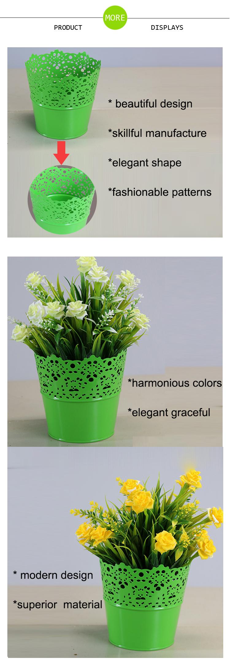 Colorful Zinc Garden Pots Plant Decoration Small Metal Flower Pot