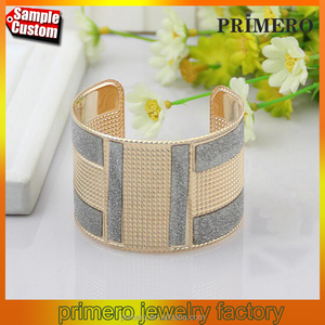 Fashion Cuff Bangles Exaggerated Gold Color with Matte Bracelets New Jewerly
