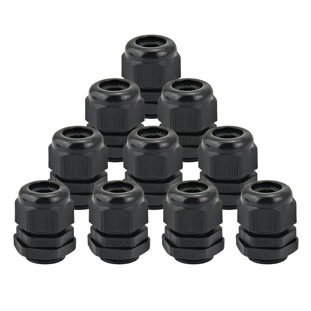 Higher Weatherproof Rating of IP66 for Outdoor Use NineLeaf 10 Piece Black Compression Cable Glands Joints 20mm Diameter Titting Hole Glands Adjustable 6-12mm Joint Cable Connector