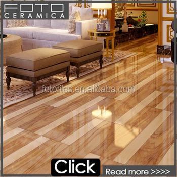 Glossy Tile Wooden Floor Tiles Brown