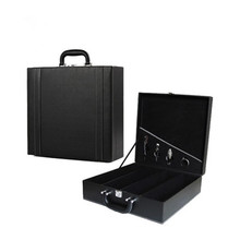 4 grid portable black PU leather MDF wooden wine box carrier with tools
