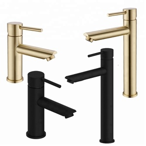 Brushed Gold & Black Solid Brass Bathroom Faucet Hot & Cold Water Tap Deck Mounted Install Single Handle Sink Tap