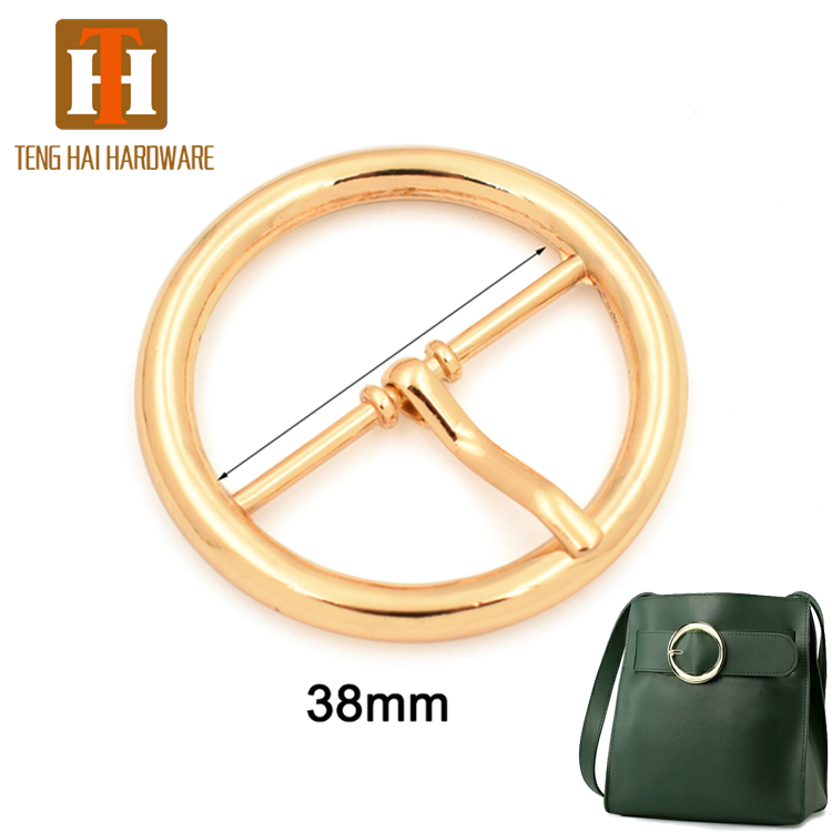 38mm bag hardware zinc alloy metal round belt <strong>buckle</strong> for handbag