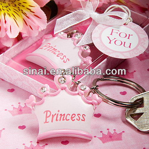 Pink Crown Princess Key Chains Baby Shower Favors