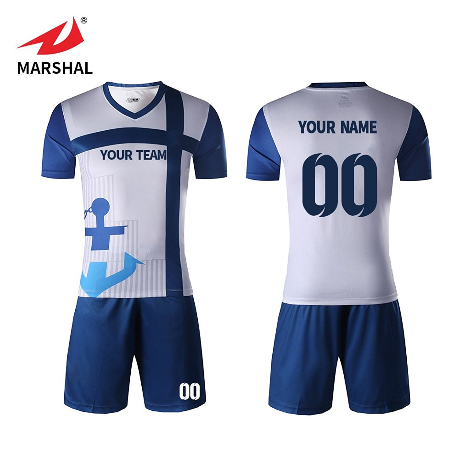 374c2f46de2 Get Quotations · Marshal Jersey Personalized Soccer Jerseys Blue Jersey  Sublimated Digital Printing Sportwear Custom Soccer Jersey Set Custom