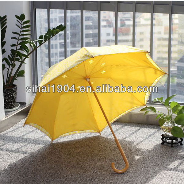 Full size umbrella,wooden hand made in China stick umbrella