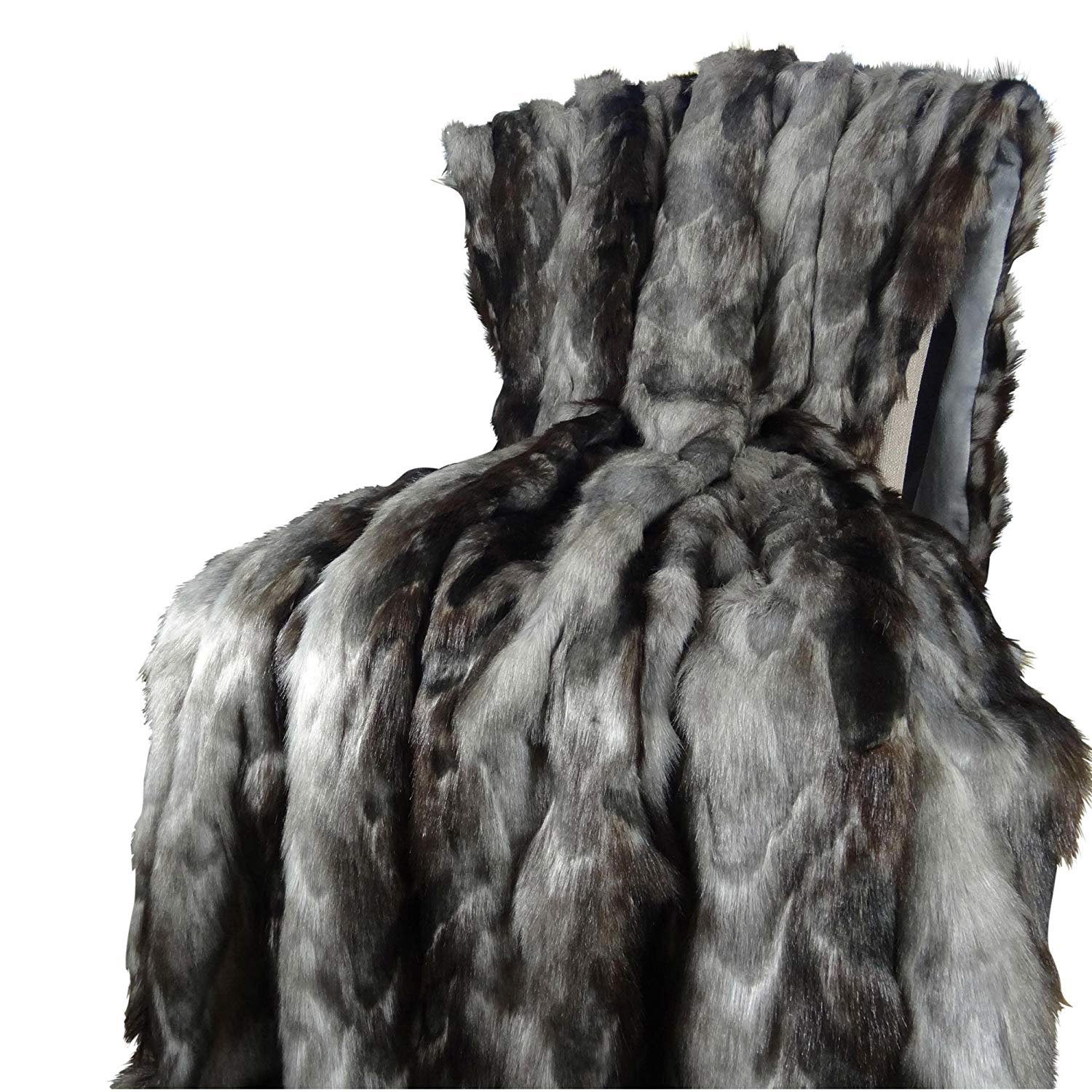 Thomas Collection Exotic Gray Fox Faux Fur Throw Blanket & Bedspread - Gray Charcoal Black Fox Fur - Gray Fox Throw Blanket - Luxury Soft Fox Faux Fur, Handmade in USA, 16439