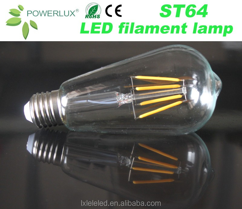 Factory Price Antique ST64 6W LED Filament Light Bulb LED Lamp Cost Effective Customize Incandescent Replacement