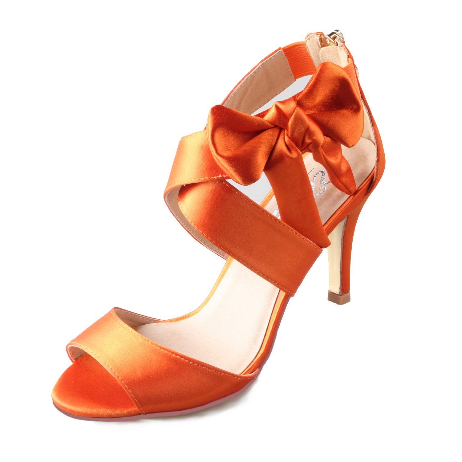 Get Quotations · Creativesugar Women s Orange Bow Sandals Satin Dress Shoes  Bridal Wedding Heels 6d56e7b840cc