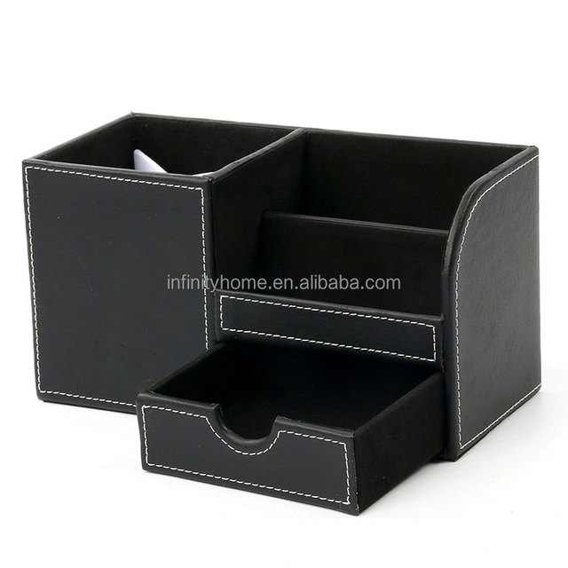 Leather desk sets with business card holder source quality leather multi function desk organizer leather wooden business card holder for storage reheart Gallery