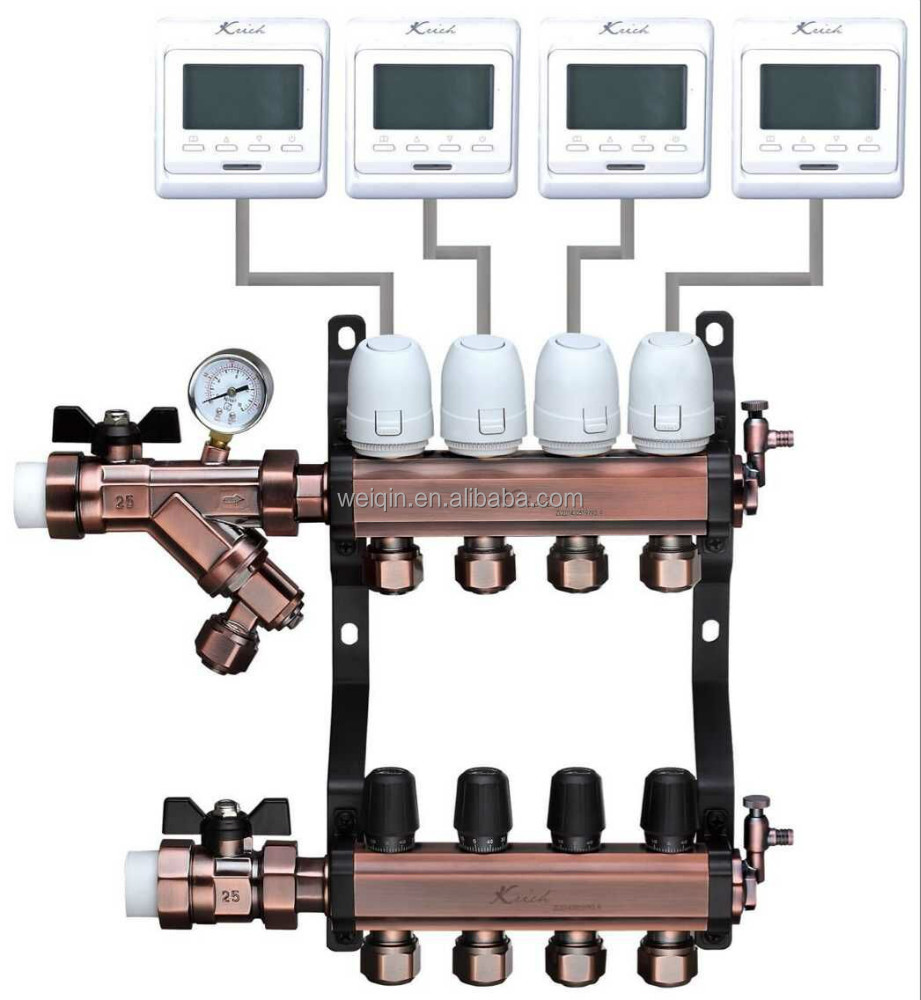 Brass water distribution manifold and water mixing system with thermostat mixing valve