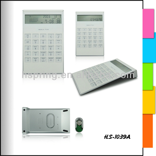 8 digits desktop calculator with world time display