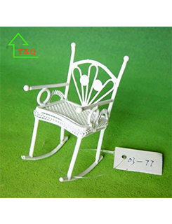 Dolls House Rocking Chair Miniature 1:12 White Wire Wrought Iron Furniture