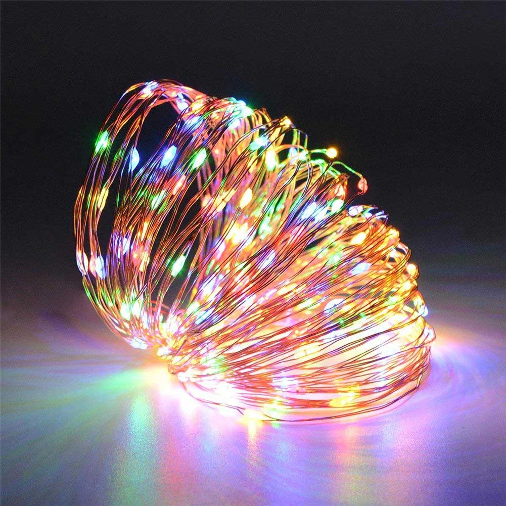 AIMENGTE LED String Lights Solar, LED Fairy Lights, 100 LEDs/200 LEDs 33ft/66ft Copper Wire DIY Decorative Lights, IP65 Waterproof Starry Lights For Christmas, Halloween, Party. (20M/66ft, RGB)