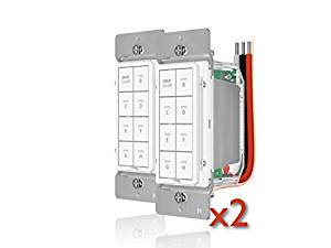 INSTEON 2334-222 Remote Control Dimmer KeyPad, 8-BUTTON - White ( 2 PACK ) - Works with Amazon Alexa for voice control (Insteon Hub required)